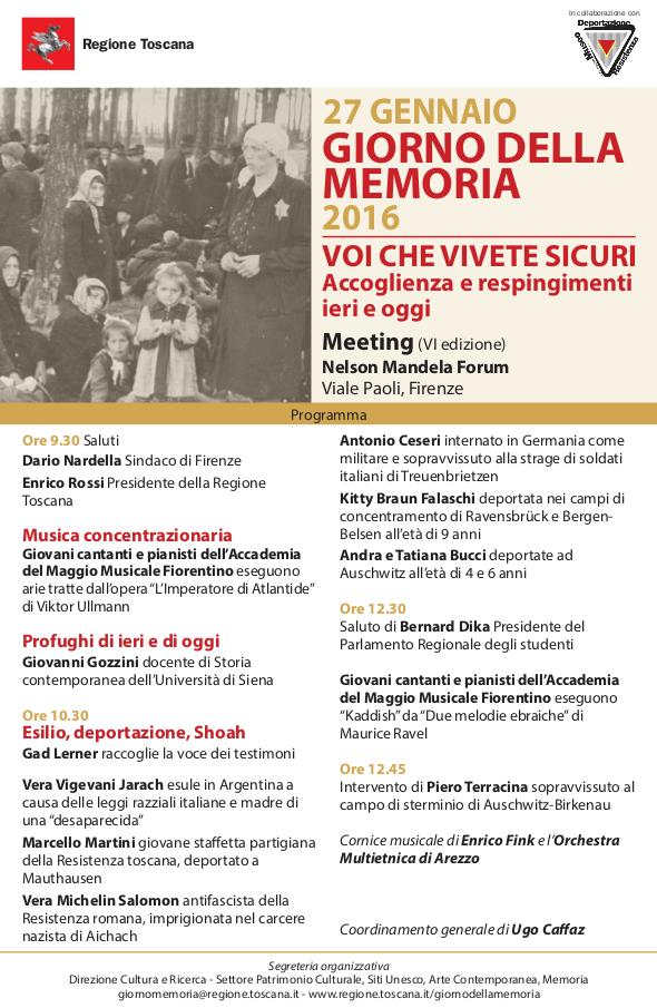 Programma Meeting Giorno della Memoria 27 gennaio 2016