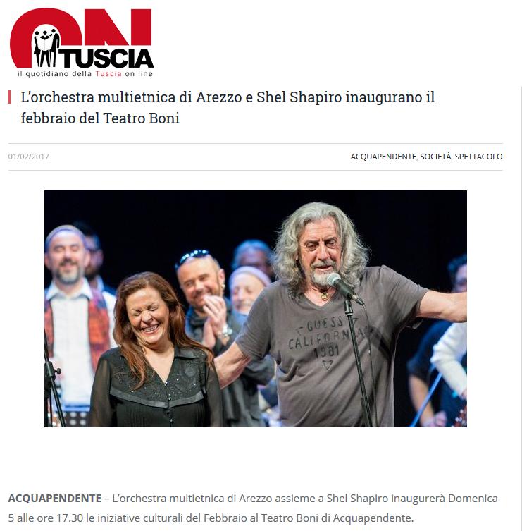 170201-L'orchestra multietnica di Arezzo e Shel Shapiro inaugurano il febbraio del Teatro Boni - OnTuscia Quotidiano Viterbo e provincia
