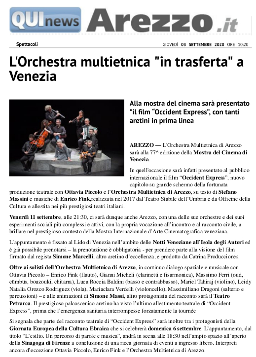 200903-L'Orchestra multietnica in trasferta a Venezia Spettacoli AREZZO